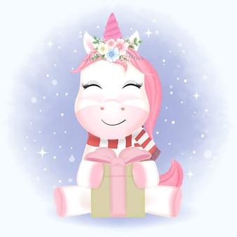 Cute baby unicorn and gift box