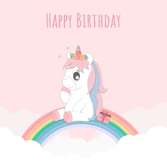 Cute baby unicorn happy birthday