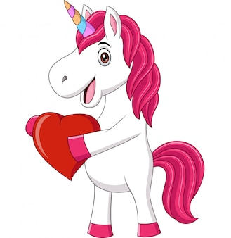 Cute baby unicorn holding heart