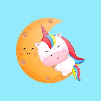 귀여운 아기 유니콘 포옹 달 만화