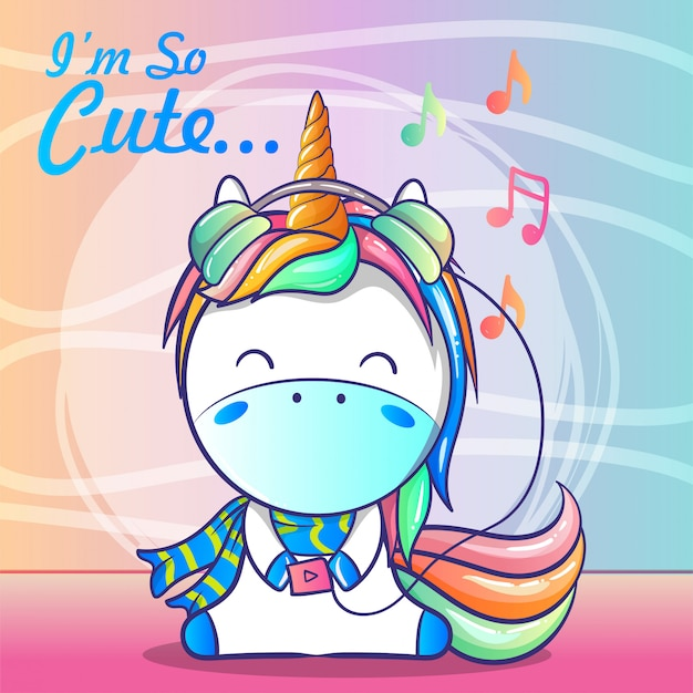 Cute baby unicorn listening music