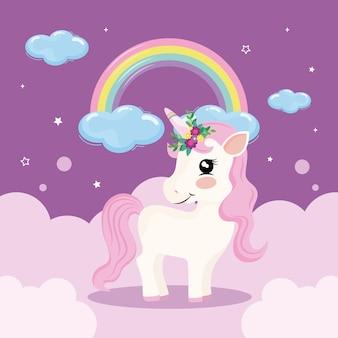Cute baby unicorn and rainbow Premium Vector