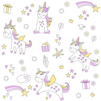 Cute baby unicorn seamless pattern