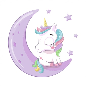 Cute baby unicorn sitting on the moon.  illustration for baby shower, greeting card, party invitation, fashion clothes t-shirt print.