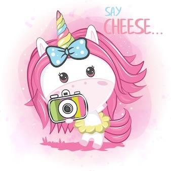 Cute baby unicorn with camera