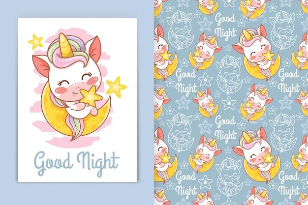 Милый ребенок единорог с луной и маленькой звездой карикатура иллюстрации и бесшовные набор