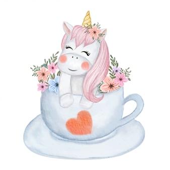 カップ水彩イラストの上に花とかわいい赤ちゃんユニコーン