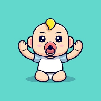 Cute baby want to be carried. icon character illustration