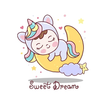 かわいい赤ちゃんは月にユニコーンのドレスを着て寝る