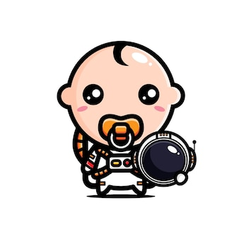 우주 비행사 의상을 입고 귀여운 아기