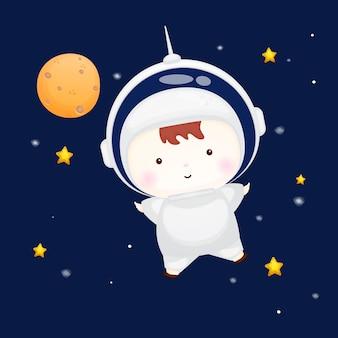Cute baby wearing astronaut helmet. animal cartoon