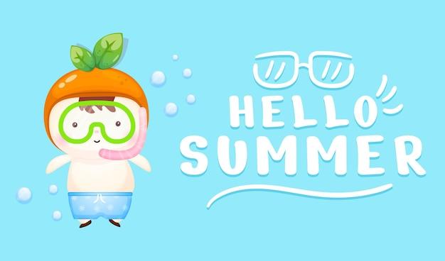 夏の挨拶バナー付きの水泳用ゴーグルを着たかわいい赤ちゃん