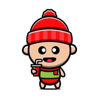 Милый ребенок в зимней одежде мультфильм иллюстрация