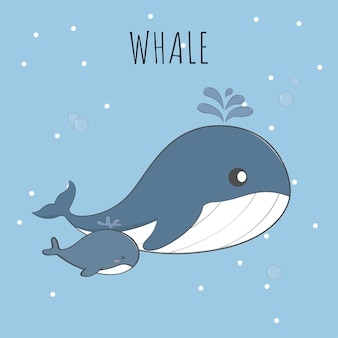 Cute baby whale and mom pastel cartoon