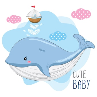 Cute baby whale and small ship