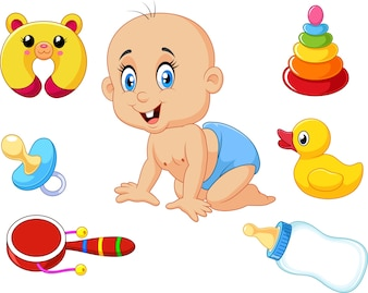 Cute baby with baby toys collection set