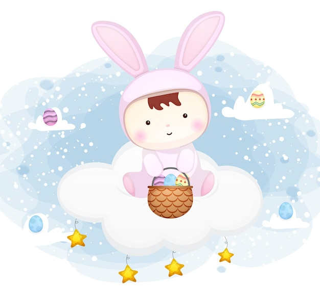 Cute baby with bunny dress sitting on the cloud with easter egg cartoon character