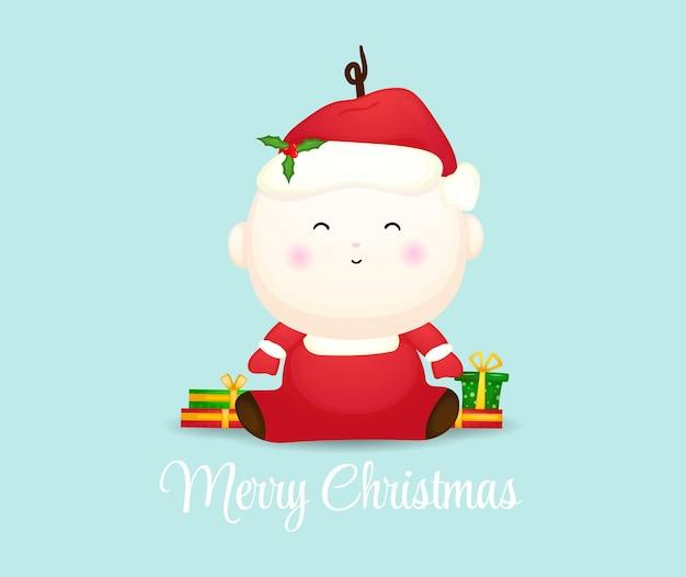 Милый ребенок в новогодней шапке premium векторы