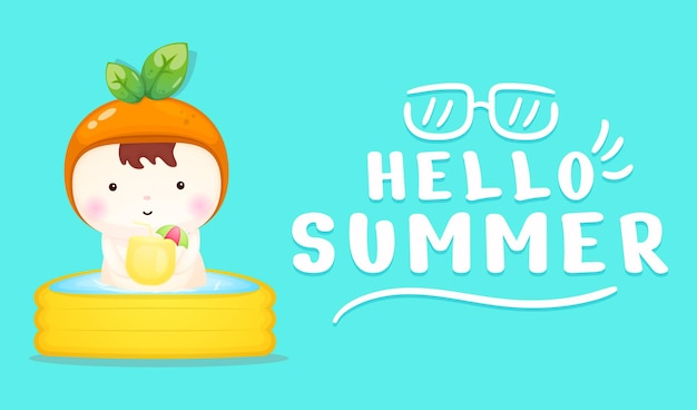 Cute baby with summer greeting banner