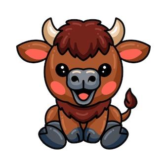Cute baby yak cartoon sitting