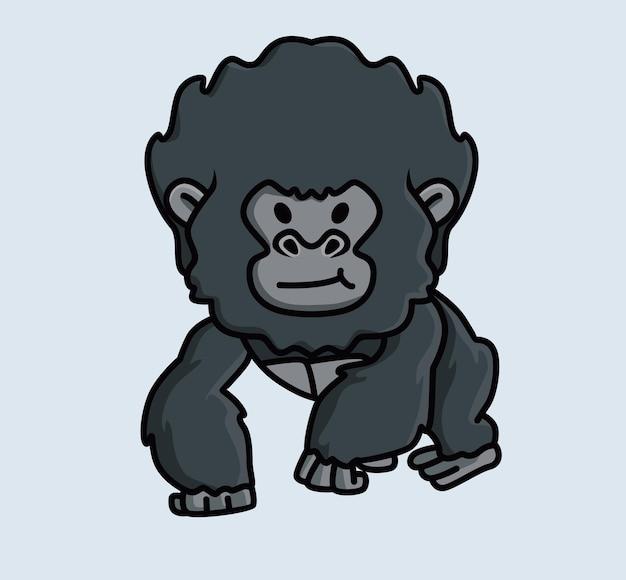 귀여운 아기 어린 고릴라 원숭이 검은 원숭이. 동물 고립 된 만화 평면 스타일 아이콘 그림 프리미엄 벡터 로고 스티커 마스코트