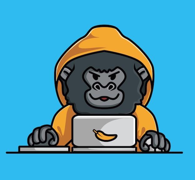 Милый ребенок молодой гориллы хакер преступления против животных анонимная обезьяна черная обезьяна держит ветку дерева. животное изолированное мультяшный плоский стиль значок иллюстрация премиум векторный логотип наклейка талисман