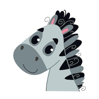 かわいい赤ちゃんシマウマ。野生のアフリカの動物の馬のアバター。白で隔離の肖像画イラスト。子供のプリントの男の子と女の子のためのデザイン、教育カード、クリップアートの楽しみ