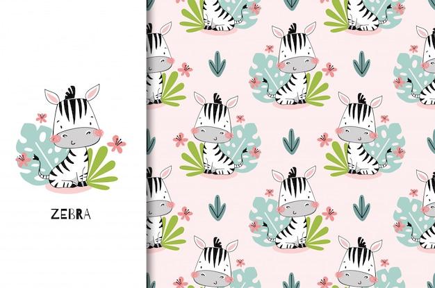 Милый ребенок зебра джунглей животных персонаж сидит среди листьев. детский шаблон карты и бесшовный второстепенный образец установлены. нарисованная рукой иллюстрация дизайна поверхности шаржа.