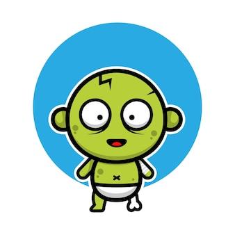 Cute baby zombie cartoon illustration halloween concept character