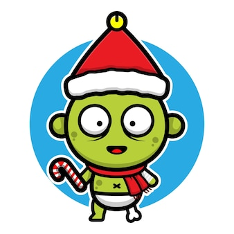 Cute baby zombie with santa hat cartoon vector christmas concept illustration