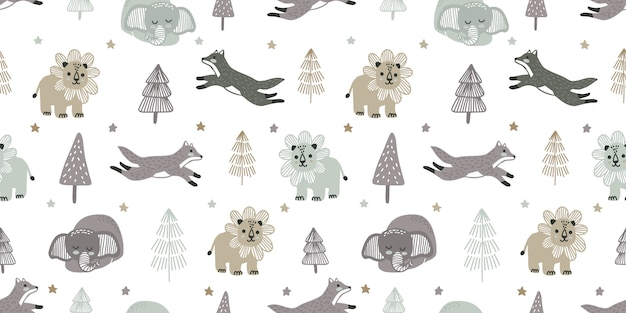 Cute baby zoo animal seamless pattern