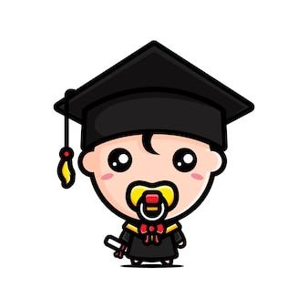 졸업식 날에 귀여운 학사 아기