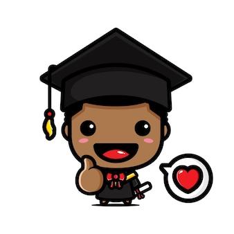 졸업식 날에 귀여운 학사 소년