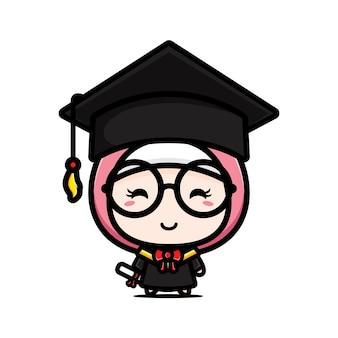 졸업식 날에 귀여운 학사 소녀