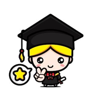 졸업식 날에 귀여운 학사