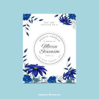 Cute bachelorette invitation with realistic blue flowers