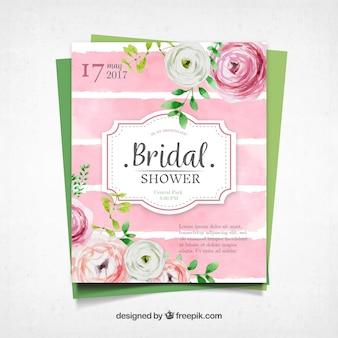 Cute bachelorette invitation with watercolor flowers
