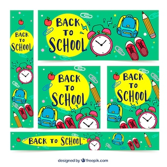 Cute back to school  cards collection in hand drawn style