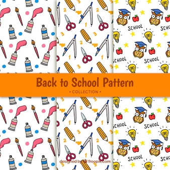 Cute back to school pattern with drawings