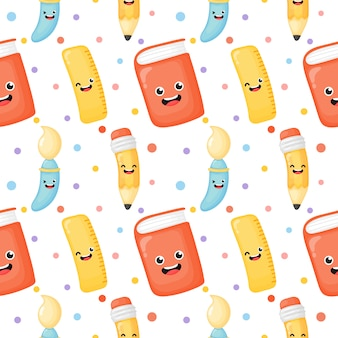 Cute back to school seamless pattern