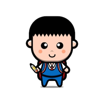 Cute back to school student cartoon character