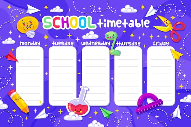 かわいい学校に戻ってフラットなデザインの時刻表