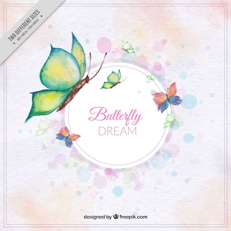 Cute background of butterflies in watercolor style