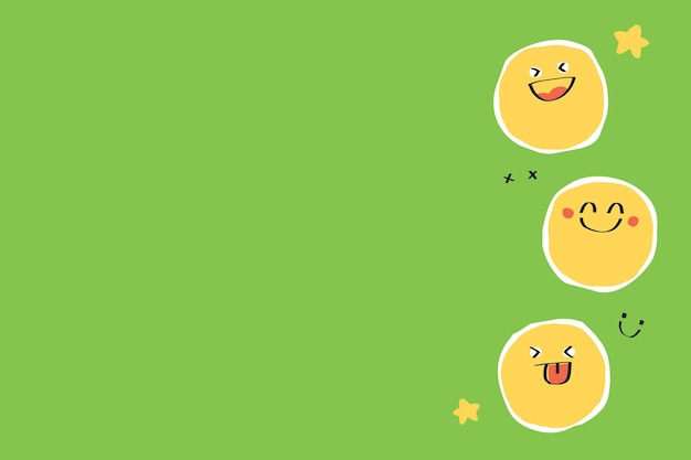 Cute background  of doodle emojis on green