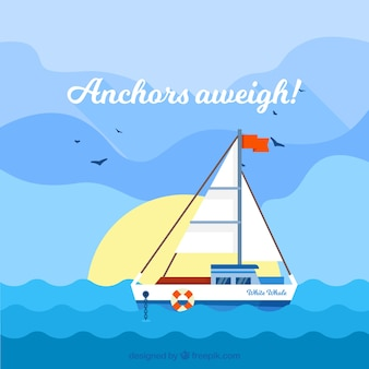 Cute background of flat boat in the sea