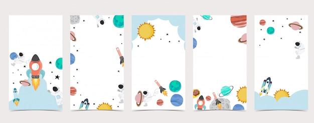 Симпатичный фон для социальных медиа. набор instagram история с космонавтом, земля, луна, звезда