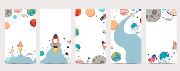 ソーシャルメディアのかわいい背景。宇宙飛行士、地球、月、星のinstagramストーリーのセット