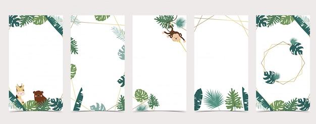 ソーシャルメディアのかわいい背景。ジャングル、サファリ、動物のinstagramストーリーのセット
