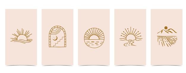 Симпатичный фон для социальных сетей. набор истории с формой, солнцем, радугой