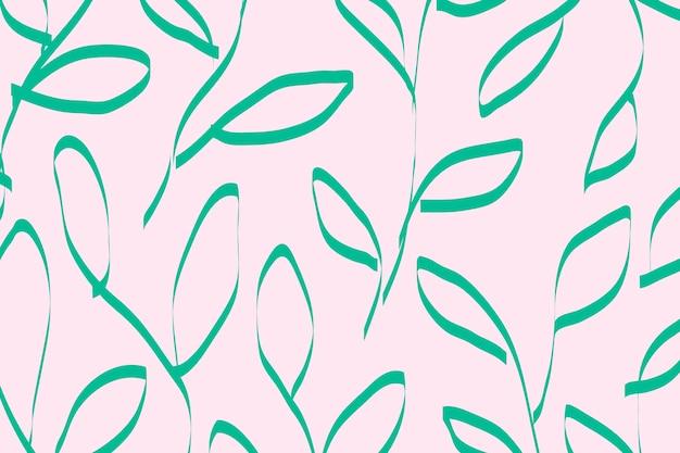 Cute background, green leaf pattern design vector